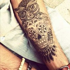 Owl tattoo, start of what i want it to be except the skull part taken out