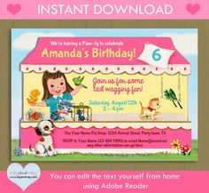 Pet Shop birthday invitation / INSTANT DOWNLOAD pet by KayandMay