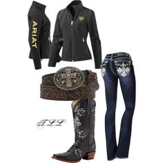 A fashion look from February 2014 featuring ariat jackets, creased jeans and real leather boots. Browse and shop related looks. Country Wear, Country Girls Outfits, Country Girl Style, Country Fashion, Cowgirl Outfits, Cowgirl Style, Western Outfits, Cowgirl Tuff, Cowgirl Bling