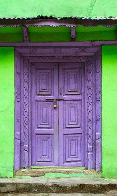 Purple door in Nepal. #Purple #Door #DoorDecor
