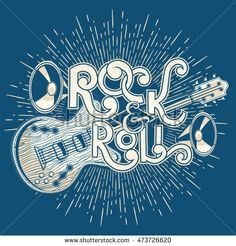Rock and roll music emblem