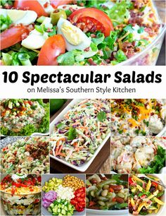Warm weather brings sunshine filled days, picnics, barbecues and lots of backyard entertaining. This collection of 10 Spectacular Salads for Your Memorial Day Barbecue are from right here in my own recipe file on Melissa's Southern Style Kitchen. It features some of the salads I return to over and over again for my own special meal preparation. When planning your menu it's important to remember the dietary needs of your family and friends as well as serving side dishes that are dresse...