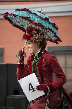 Dickens on the strand 2016 - Loveliest Victorian Lady costume contest - Red Burgundy taffeta Christmas bustle dress - 1887-Truly Victorian