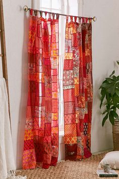 Shop Magical Thinking Patchwork Curtain at Urban Outfitters today. Patchwork Curtains, No Sew Curtains, Boho Curtains, Country Curtains, Urban Outfitters Home, Curtain Designs, French Country Style, Sewing Rooms, Kitchen Curtains
