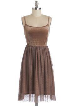 Saved by the Velvet Dress - Mid-length, Velvet, Tulle, Knit, Brown, Solid, Beads, Party, Vintage Inspired, 90s, Spaghetti Straps