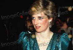 """February 23, 1987: Princess Diana at the musical performance of """"High Society"""" in aid of the charity, """"Help The Hospices"""" at Victoria Palace Theatre, London.  Photo by Alpha-Globe Photos"""