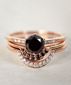 Rose Gold Crescent Band, Rose Gold Tiny Band, and the Anna Sheffield Black Diamond Hazeline