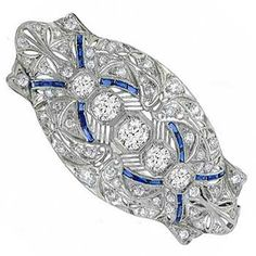 Art Deco 3.85ct Diamond & Sapphire Pin/ Pendant