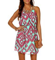 Mint/Fuchsia Printed Dress