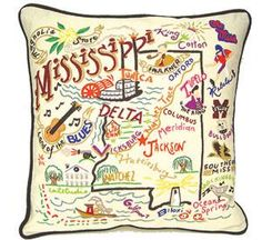 Catstudio Mississippi Hand Embroidered Pillow, $149.00