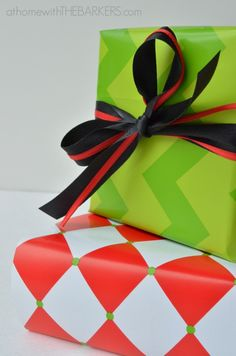 Gift Wrap Mixing patterns - Green Chevron and Red Diamond #athomewiththebarkers
