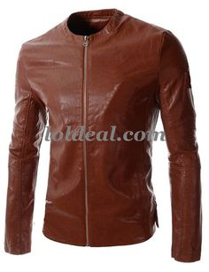 Mens simple stand collar PU Motorcycle leather Jacket
