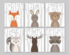 Baby Boy Kinderzimmer Kunst, Waldland Kinderzimmer, Baby Room Decor, Wald Tier Drucke, Set von 6 Fox Hase Bär Eichhörnchen Moose Waschbär