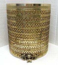 Vintage Filigree Trash Can Waste Basket Cover Gold by thejunkman