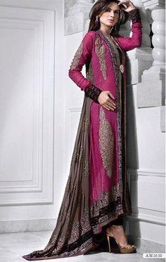 Pakistani dresses by Haroon Sarhal. Arab Fashion, Islamic Fashion, Muslim Fashion, Modest Fashion, Indian Fashion, Fashion Dresses, Frock Fashion, Fashion Women, High Fashion