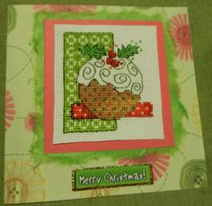 cross stitched christmas pudding card!