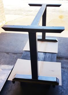 New Design Industrial T Legs with Brace. Dining Table by DVAMetal