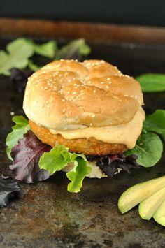Cajun Chickpea Sweet Potato Veggie Burger