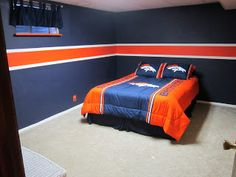 Denver Broncos Room For Our Boys His Next Bed Set And Painted Walls