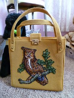 1960s Faye Mell Fleurette yellow tote with appliqued owl on a branch.