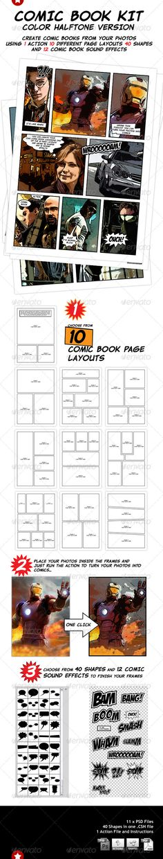 Blank Comic Panel Book Strips: Templates, 6 panel layouts 8.5 x 11 inches, 120 Page Draw your own Comics (Comic Drawing strip books) (Volume 5)