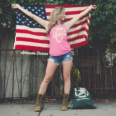 Pink Helmet Tank Top - Boot Campaign - Give Back - Military - America - American Flag - Patriotism - Amanda Furrer - Olympics - Summer - Combat Boots - Street Style - Fashion