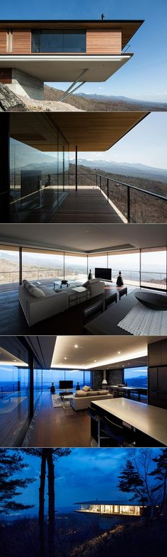 The Japanese studio Kidosaki Architects designed this beautiful house, situated on a steep slope in Yatsugatake....