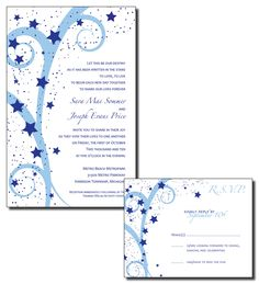 Print Your Own Wedding Invitations - Light Blue and Navy Stars and Swirls -Wish Upon A Star Theme - Available as PDF or JPG. $25.00, via Etsy.