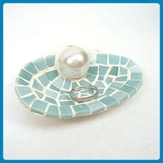 Blue Mosaic Shell Engagement Ring Holder Dish for Beach Wedding - Venue and reception decor (*Amazon Partner-Link)