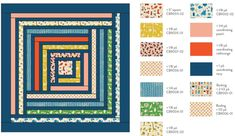 The Campfire Quilt Pattern is a modern interpretation of the traditional Log Cabin quilt block. This quilt comes in king, queen, throw and baby quilt sizes. Patchwork Quilt Patterns, Modern Quilt Patterns, Quilt Patterns Free, Modern Quilting, Quilt Modern, Sewing Patterns, Big Block Quilts, Strip Quilts, Quilt Blocks