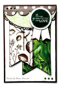 chocolate lime love card, kaisercraft 'botanica' papers. fishtail dies