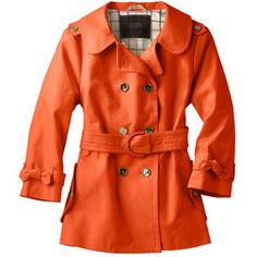 Coach Outerwear Orange Trench Coat with Heritage Stripe Inside - Style...