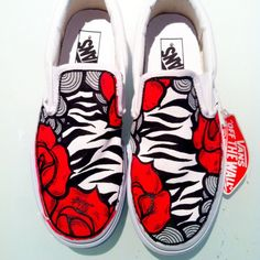 Stripes and roses Classic Slip-on Custom Made Shoes, Custom Sneakers, Vans Sneakers, Vans Shoes, Converse, Painted Vans, Painted Shoes, Crazy Shoes, Me Too Shoes