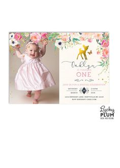 Deer Birthday Invitation / Bambi Birthday by LuckyPlumStudio