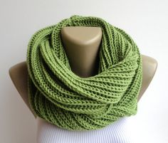 green knitted infinity scarf ,unisex chunky scarves ,women men circle scarf ,neck warmer ,hood loop , winter scarf on Etsy, $35.00