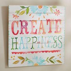 "PB Teen Katie Daisy ""Create Happiness"" Watercolor Surf Art at Pottery Barn Teen - Teen Bedroom Decorations -"