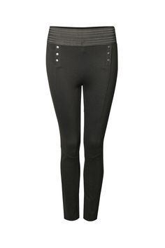 Elastic waist tuxedo style legging with front button detail.  Tuxedo Legging by Dex. Clothing - Bottoms - Pants & Leggings - Leggings New York