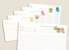 Just got these - they are the cutest!!! Little Owls  Printable and Editable 4x6 Recipe Cards by wildolive, $5.00