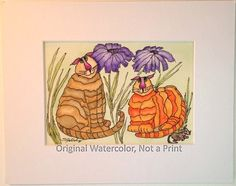 Painting of Cats, Cat Tails #5, Two Fat Kitties, Purple Daisies and Forward Mouse, Watercolor, Hand Illustrated, 5x7,  8x10 Mat, Not a Print