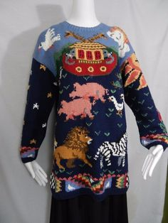 Noah's Ark HandKnitted Sweater Womens Sz L Signatures By Northern Isles in Clothing, Shoes & Accessories, Women's Clothing, Sweaters | eBay