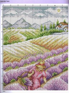♥ My point Graphs Cross ♥: Table Field of Lavender in Cross Stitch Cross Stitch Boards, Cross Stitch Needles, Cross Stitch Art, Cross Stitch Flowers, Counted Cross Stitch Patterns, Cross Stitch Designs, Cross Stitching, Cross Stitch Embroidery, Crochet Hat Tutorial
