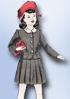 1940s Original Vintage Hollywood Pattern 1054 WWII Toddler GIrls 2 PC Suit Sz 3