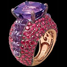 DE GRISOGONO Cocktail ring in pink gold with pink tourmaline, white diamonds and pink and orange sapphires