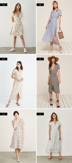 1. Christy Dawn, $191 (similar) / 2. Reformation, $198 / 3. Madewell, $168 / 4. Reformation, $218 / 5. Amour Vert, $218 / 6. Christy Dawn, $207