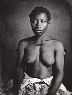 """Description:Daguerreotype of Delia, a slave woman on a plantation in Columbia, South Carolina. Delia was an American born slave, daughter of Congo born slave """"Renty"""". One of a series of photo-portraits of slaves made for Louis Agassiz in 1850 for his study of races.   DateMarch 1850  SourcePhoto by photographer J.T. Zealy of Columbia, South Carolina, made by commission of Louis Agassiz."""