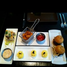 Mini Phyllo Ruebens, WI Fried Curds, Truffle Deviled Eggs, & Bison Shortrib Sliders @Sable Kitchen & Bar, Chicago