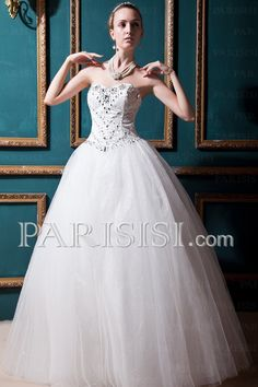 vestidos de novia  Hasta Suelo Cuentas Cristals Blanco Sin Mangas Tul Glamouroso Romántico Corazón