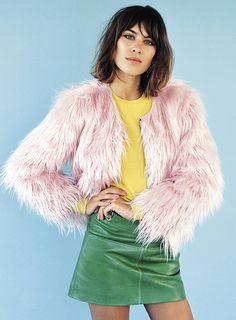 colour clash! YES Alexa Chung, rock the pink fur, green leather combo