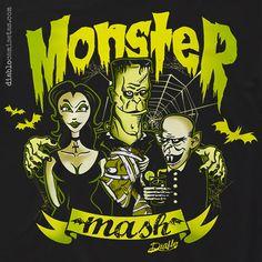 """Camiseta homenaje a los monstruos del cine de terror clásico y a la canción de Rock """"Monster Mash"""" de Bobby """"Boris """" Pickett y versionada por Misfits. www.diablocamisetas.com"""