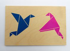 Blue and Pink Love Birds, Origami Birds on Plywood, Original Stencil Art on Plywood Block. Hand Cut and Hand painted Artwork.  #origami #origamiArt #cuteOrigami #Ply #Plywood